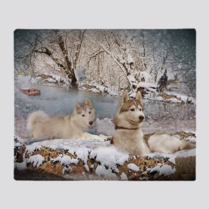 Siberian Husky Snow Scene Throw Blanket